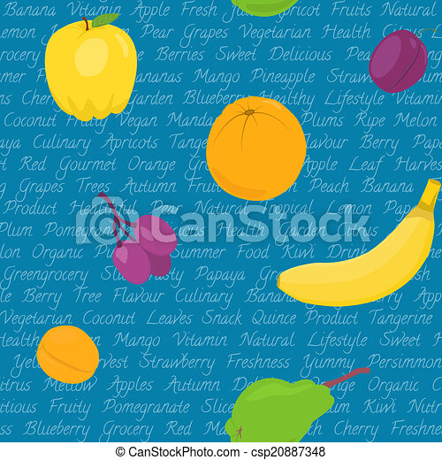 Seamless pattern with fruits and text - csp20887348