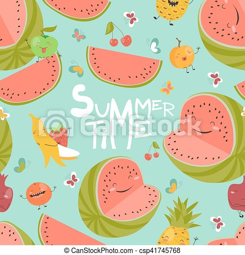 Seamless pattern with fruits - csp41745768