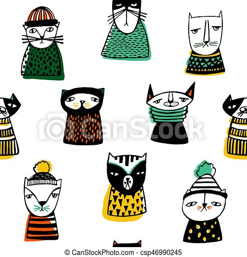 Seamless pattern with funny cartoon cats muzzles. Hand drawn doodle kitty on white background. - csp46990245