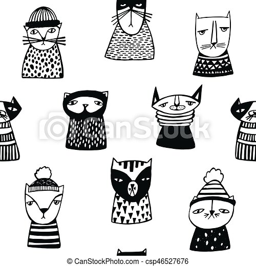 Seamless pattern with funny cartoon cats muzzles. Hand drawn doodle kitty on white background. - csp46527676