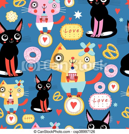 Seamless pattern with funny cats - csp38997126