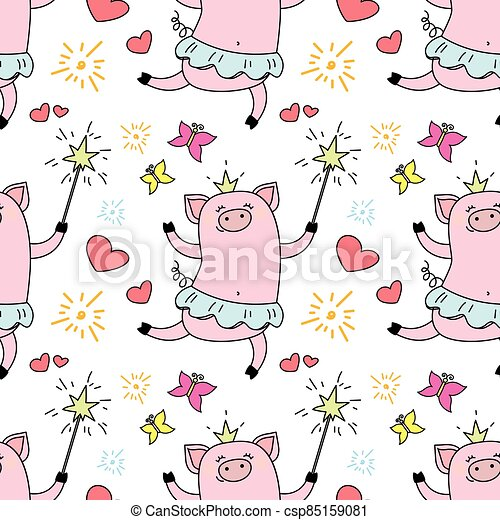 Seamless pattern with funny piggy princess, - csp85159081