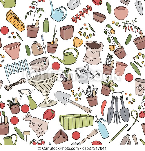 Seamless pattern with gardening tools, flower pots and vegetables - csp27317841
