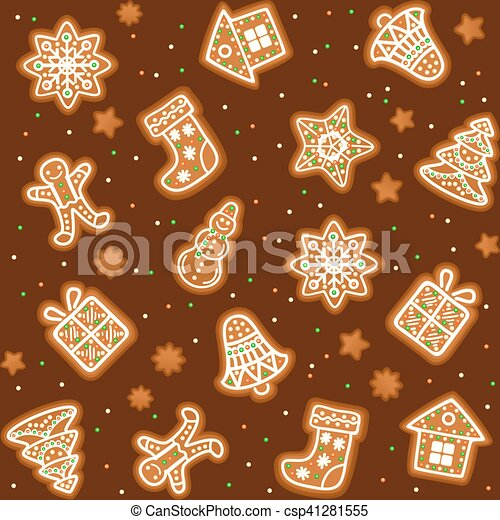 Seamless Pattern With Gingerbread Christmas Cookies Decorated Icing Holiday Cookie In Shape Of Christmas Xmas Tree Star Bell Sock Gingerbread