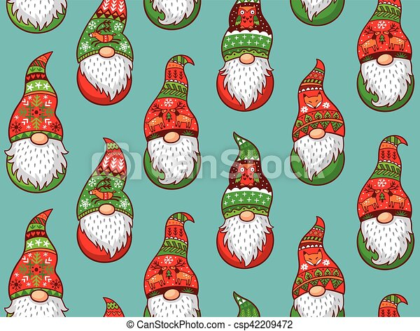 Christmas Gnomes Images.Seamless Pattern With Gnomes