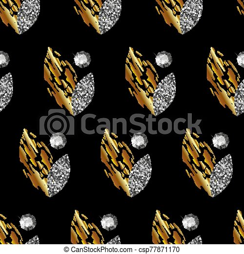 Seamless pattern with gold and silver leaves, precious stones on black background. Vector - csp77871170