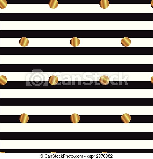 seamless pattern with gold circles on striped background - csp42376382