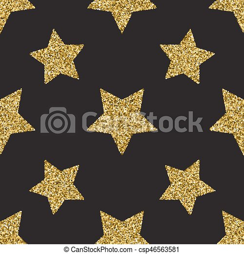 Seamless pattern with gold glitter textured stars on the dark background - csp46563581