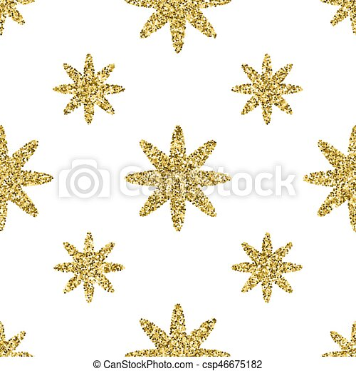 Seamless pattern with gold glitter textured stars on the white background - csp46675182