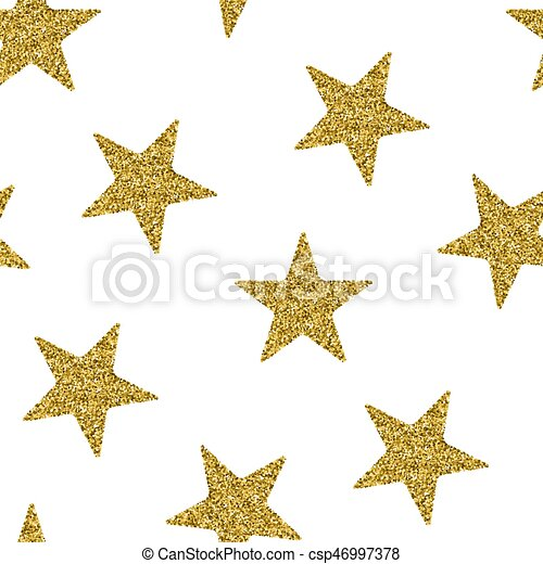 Seamless pattern with gold glitter textured stars - csp46997378