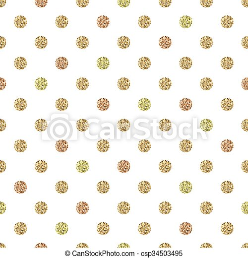 Seamless pattern with gold glitter polka dot ornament on white background - csp34503495