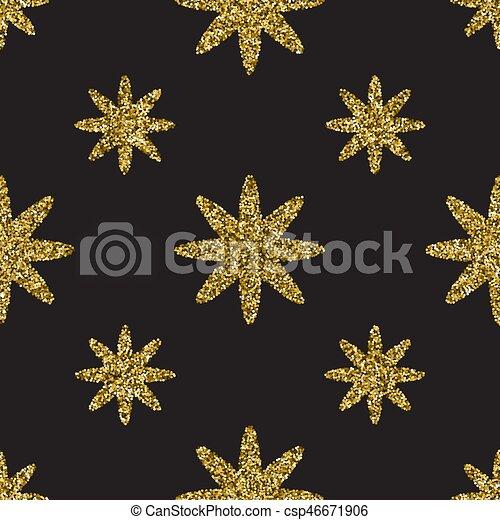 Seamless pattern with gold glitter textured stars on the dark background - csp46671906