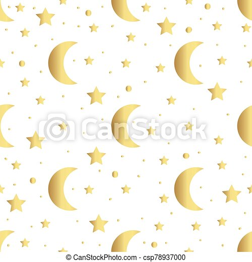 Seamless pattern with gold stars and moon. Vector illustration - csp78937000