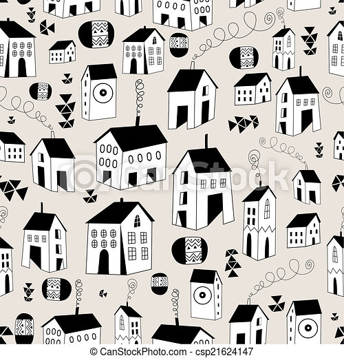 seamless pattern with graphic house - csp21624147