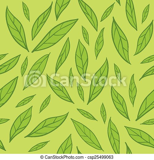 Seamless pattern with green leaves - csp25499063