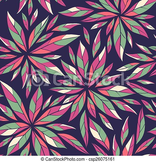 Seamless pattern with green leaves - csp26075161
