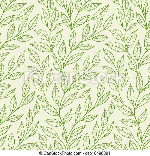 seamless pattern with green leaves - csp16498391