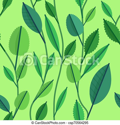 Seamless pattern with green leaves - csp70564295