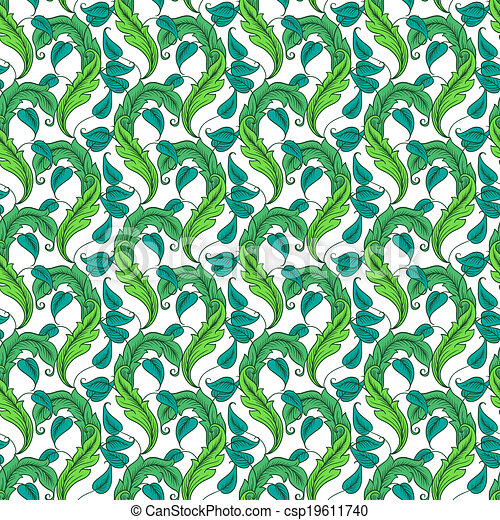 seamless pattern with green leaves - csp19611740