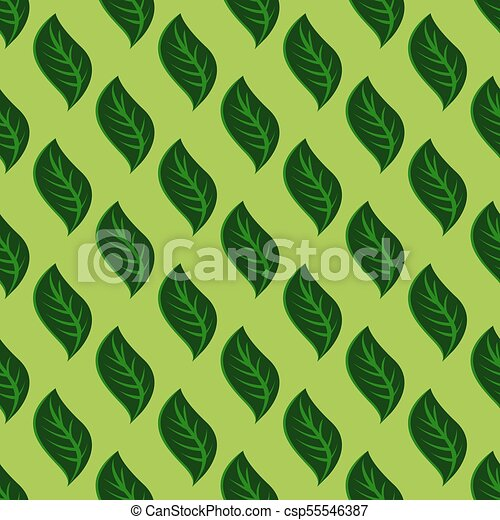 Seamless pattern with green leaves - csp55546387