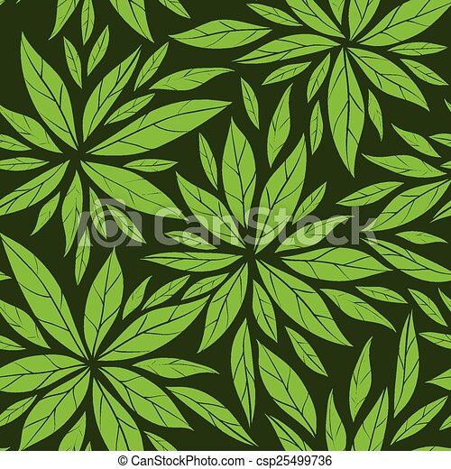 Seamless pattern with green leaves - csp25499736