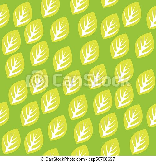 Seamless pattern with green leaves - csp50708637