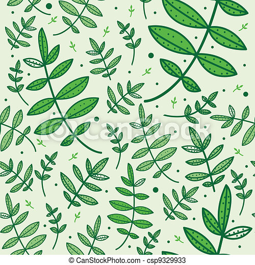 Seamless pattern with green leaves - csp9329933
