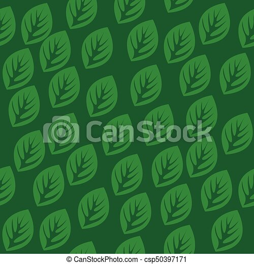 Seamless pattern with green leaves - csp50397171