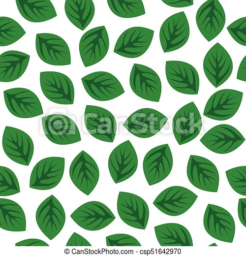 Seamless pattern with green leaves - csp51642970