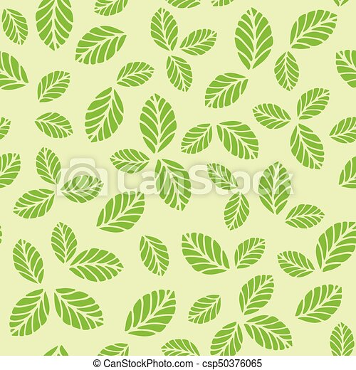 Seamless pattern with green strawberry leaves - csp50376065