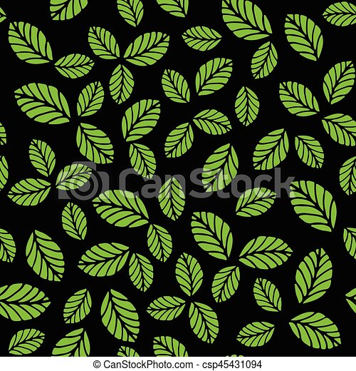 Seamless pattern with green strawberry leaves - csp45431094