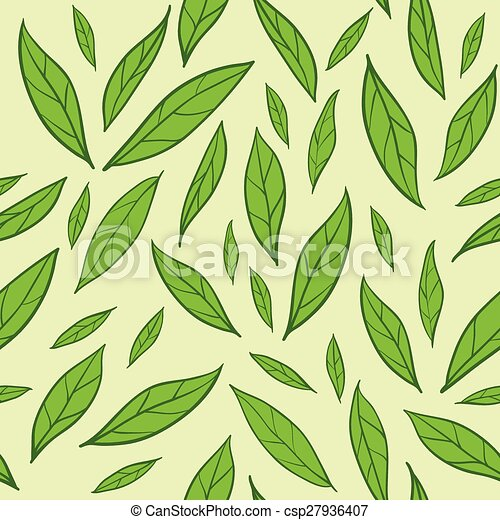 Seamless pattern with green tea leaves - csp27936407