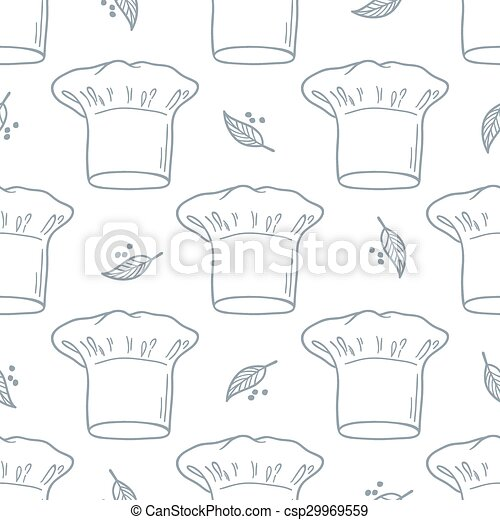 ce5768aade5 Seamless pattern with hand drawn chef hat. Kitchen background in outline  style - csp29969559