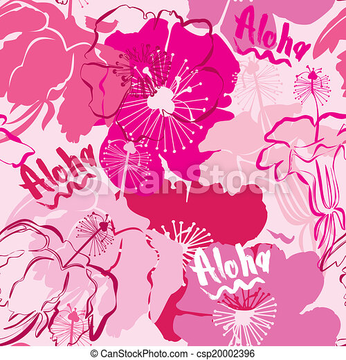 Seamless pattern with hand drawn outlines frangipani, Plumeria flowers. Ready to use as swatch - csp20002396