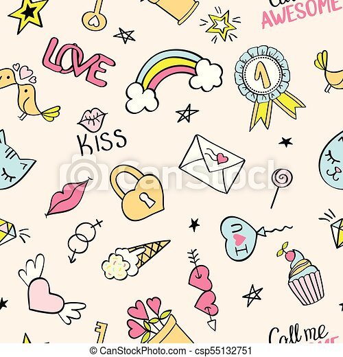 seamless pattern with hand drawn girly doodles repeating background with childish sketch design elements for textile wallpaper scrapbooking
