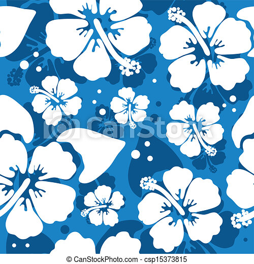 Seamless Pattern With Hawaiian Hibiscus Flower Vector