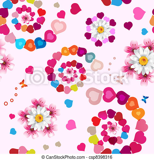 Seamless pattern with hearts  - csp8398316