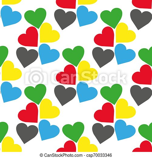 Seamless pattern with hearts of fresh colors on a white background. Vector repeating texture. - csp70033346