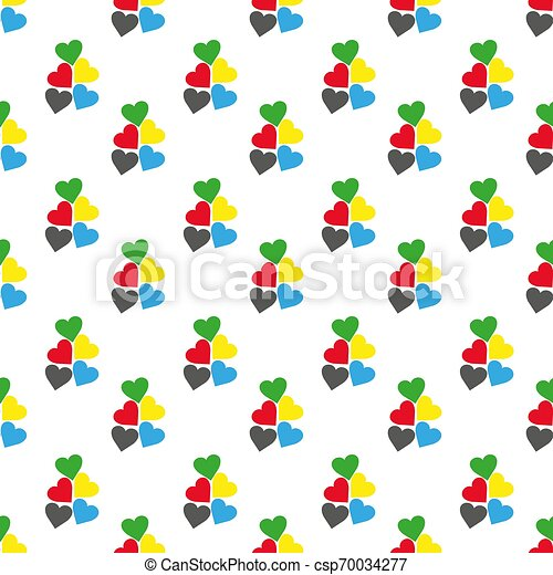 Seamless pattern with hearts of fresh colors on a white background. Vector repeating texture. eps10 - csp70034277