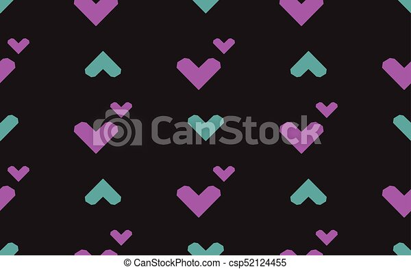 Seamless pattern with hearts on a black background. Vector illustration. - csp52124455