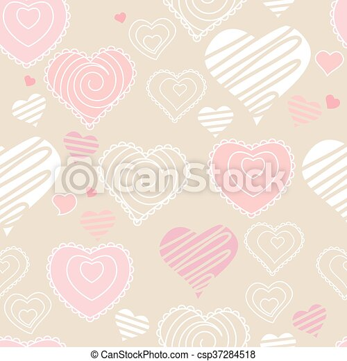 Seamless pattern with hearts. Pastel soft colors. Endless texture for romantic and wedding design - csp37284518