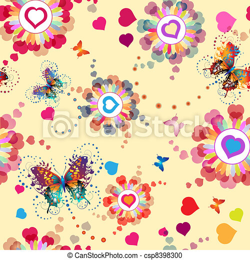 Seamless pattern with hearts - csp8398300