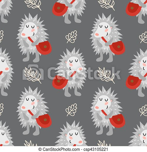 Seamless pattern with hedgehog - csp43105221