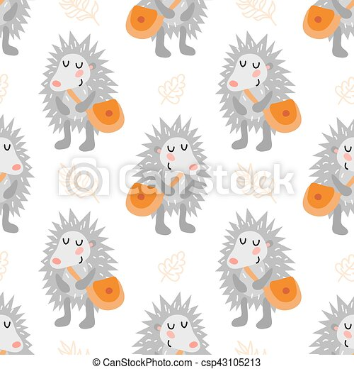 Seamless pattern with hedgehog - csp43105213