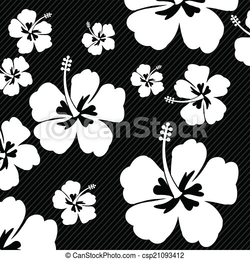 Seamless Pattern With Hibiscus Flowers On Black Background Vector