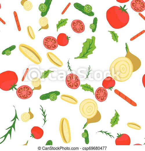 Seamless Pattern With Ingredients Of Hot Dog