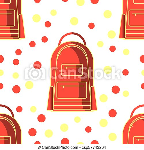 Seamless Pattern With Kids Red School Bag Isolated On White Background Flat Design Vector Illustration