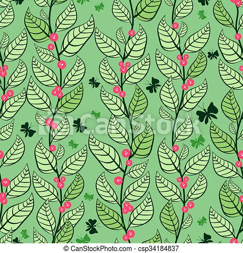 seamless pattern with leaves and berries - csp34184837