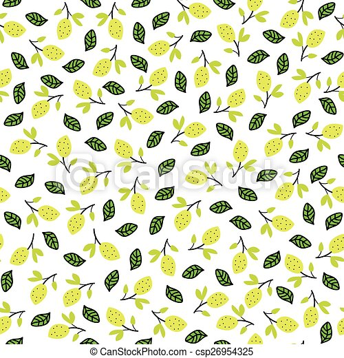 Seamless pattern with lemons on the white background - csp26954325