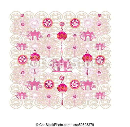 seamless pattern with Mid-Autumn Festival for Chinese New Year - csp59628379